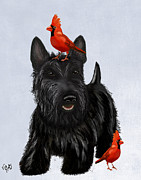 Dog Framed Prints Digital Art Framed Prints - Scottie Dog and Red Birds Framed Print by Kelly McLaughlan