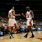 Michael Jordan Posters - Scottie Pippen vs Michael Jordan Poster by Sanely Great