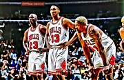 National Basketball Association Posters - Scottie Pippen with Michael Jordan and Dennis Rodman Poster by Florian Rodarte