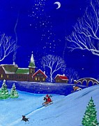Scottie Painting Posters - Scottie Sleigh Ride Poster by Margaryta Yermolayeva