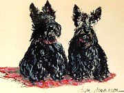 Scottie Portrait Paintings - Scotties by Dyan Newton