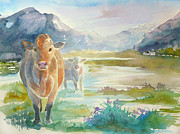 Landscape With Mountains Framed Prints - Scottish cows watercolour landscape Framed Print by Gill Bustamante