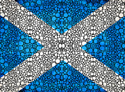 Wall Art Prints Digital Art - Scottish Flag - Stone Rockd Scotland Art By Sharon Cummings by Sharon Cummings