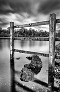 Black And White Prints Prints - Scottish Loch with Fence Print by John Farnan