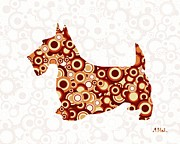 Abstract Animal Prints - Scottish Terrier - Animal Art Print by Anastasiya Malakhova