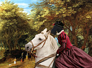 Scottish Terrier Paintings - Scottish Terrier Art - Pasague with Horse Lady by Sandra Sij