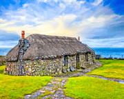 Skye Digital Art Posters - Scottish Thatched Cottage On Skye Poster by Mark E Tisdale