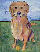 Pat Saunders-white Dog Paintings - Scout by Pat Saunders-White