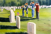 Cobb Originals - Scouts at Marietta National Cemetery by Kathy Rennell Forbes