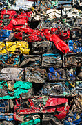 Junk Posters - Scrap cars colorful heap Poster by Matthias Hauser