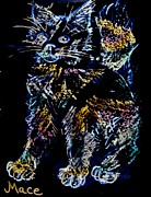 Fuzzy Mixed Media - Scratch Cat by Joan Mace
