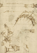 Engineering Drawings Prints - Screw breech bombard decorative geometrical drawings framework of self supporting military bridge  Print by Leonardo Da Vinci