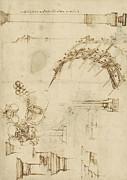 Screw Breech Bombard Decorative Geometrical Drawings Framework Of Self Supporting Military Bridge  Print by Leonardo Da Vinci