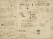 Scribbles Prints - Screws and lathe assembling press for olives for oil production and components of plumbing machine  Print by Leonardo Da Vinci