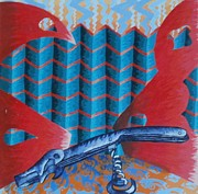 Cork Screw Paintings - Screwy World by Thomasina Durkay