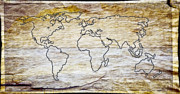 America The Continent Prints - Scrimshaw World Map Print by Steve McKinzie