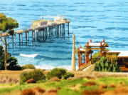 Piers Painting Framed Prints - Scripps Pier La Jolla Framed Print by Mary Helmreich