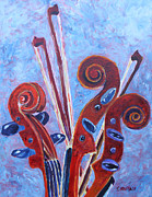 Violin Bows Violin Bows Prints - Scroll Bouquet Print by Jenny Armitage