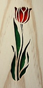 Intarsia Sculpture Framed Prints - Scrolled Tulip Framed Print by Bill Fugerer