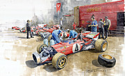 Sports Paintings - Scuderia Ferrari Paddock Spanish GP 1971 Ferrari 312B2  by Yuriy Shevchuk
