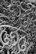 Mendon Ma Framed Prints - Sculpture Detail Vertical BW Framed Print by Barbara Bardzik