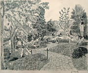Benches Drawings Prints - Sculpture Garden in the Fall Print by Joanna Franke