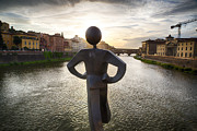 Arno River Framed Prints - Sculpture of the Common Man in Florence Framed Print by George Oze