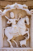 Sculpture Art Prints - Sculpture on the Royal Cenotaphs near Jaisalmer in India Print by Robert Preston