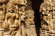 Sculpture Art Prints - Scultures inside the Jain temple in Jailsalmer Fort Rajasthan India Print by Robert Preston