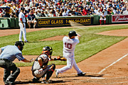 Red Sox Metal Prints - Scutaro takes a swing Metal Print by Dennis Coates