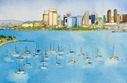 San Diego Bay Prints - SD Skyline Pen and Ink Print by Mary Helmreich