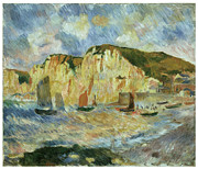 Transportation Painting Posters - Sea and Cliffs Poster by Pierre-Auguste Renoir