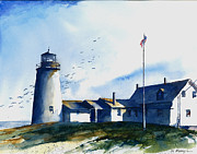 Sea Birds Paintings - Sea Birds - Pemaquid Lighthouse by William Beaupre