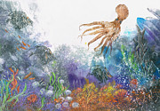 Under The Ocean Mixed Media Prints - Sea Coral And Octopus Print by Nancy Gorr