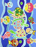 Sea Turtles Painting Metal Prints - Sea Creatures Metal Print by Lynnda Rakos