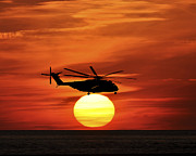 Sikorsky Photo Posters - Sea Dragon Sunset Poster by Al Powell Photography USA