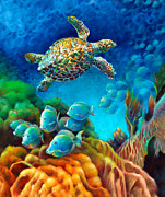 Brain Coral Posters - Sea eScape III - Hawksbill Gemstone Turtle Poster by Nancy Tilles