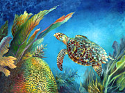 Brain Coral Posters - Sea eScape IV - Hawksbill Turtle Flying Free Poster by Nancy Tilles