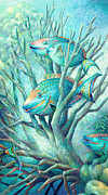 Blue Tang Fish Framed Prints - Sea Folk II - Parrot Fish Framed Print by Nancy Tilles
