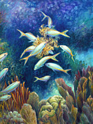 Angelfish Paintings - Sea Food Chain - Feeding Frenzy by Nancy Tilles