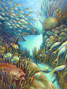 Angelfish Paintings - Sea Food Chain - Stalker by Nancy Tilles