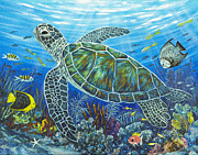 Green Sea Turtle Painting Metal Prints - Sea Friends Metal Print by Danielle  Perry