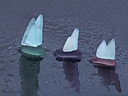 Transportation Glass Art Posters - Sea Glass Flotilla Poster by Barbara McMahon
