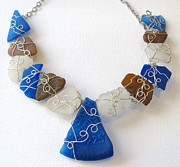 Wire-wrapped Jewelry Originals - Sea glass necklace by Tareen Rayburn