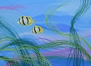 Tropical Fish Drawings Posters - Sea Grass with butterfly fish Poster by David Keenan