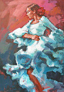 Dancing Girl Paintings - Sea-green Dress  by Renata Domagalska