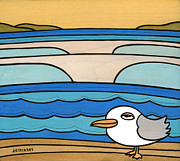 Gold Mountains Mixed Media Framed Prints - Sea Gull Break Framed Print by Joe Vickers