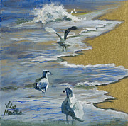 Vic Mastis Painting Metal Prints - Sea Gulls with Gold Leaf by Vic Mastis Metal Print by Vic  Mastis