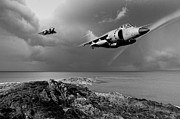 Jump Shot Posters - Sea Harriers over the Falklands BW Poster by Gary Eason
