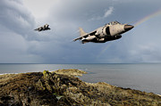 Jump Shot Posters - Sea Harriers over the Falklands Poster by Gary Eason
